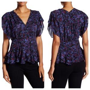 Rebecca Taylor Draped Short Sleeve Silk Blouse Top